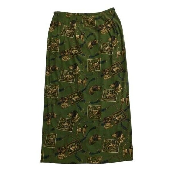 14 Long Equestrian Skirt Dogs Print Made in USA